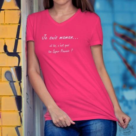 Donna cotone T-Shirt - Maman Super Pouvoir