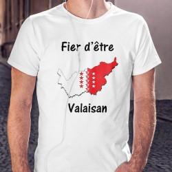 T-Shirt mode homme - Fier d'être Valaisan, frontière cantonale valaisanne et drapeau valaisan