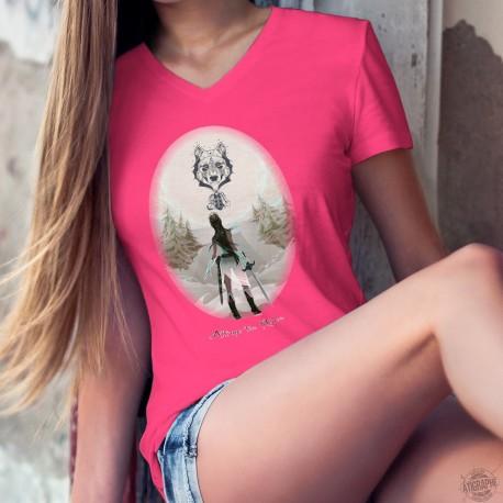 T-shirt mode coton Dame - Attrape tes Rêves , 57-Fuchsia