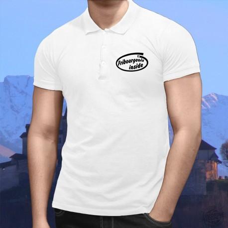 Fribourgeois inside ★ Fribourgeois à l'intérieur ★ Polo shirt homme inspiré de la publicité Intel pour ses processeurs Pentium