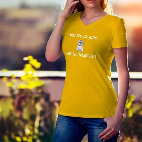 T-shirt coton mode dame - Shih Tzu un jour, Shih Tzu toujours, 34-Tournesol