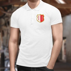 Men's polo shirt illustrated with the Valaisan flag with thirteen stars in a gold coat of arms