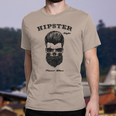 Funny fashion T-Shirt - HIPSTER Style Never Dies, with a skull wearing a beard and hair