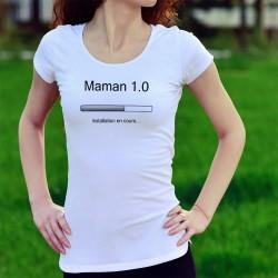 Slim Humoristiche Frauen T-shirt - Maman 1.0