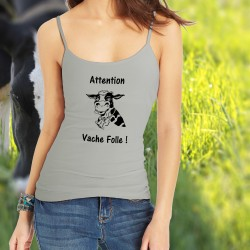 Frauen Top - Attention Vache Folle !, Natural