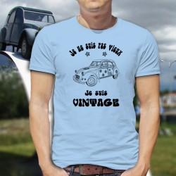 Uomo moda umoristica T-Shirt - Vintage Hippie Deuche, Blizzard Blue