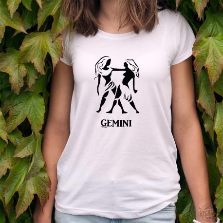 T-shirt mode dame - Signe astrologique des Gémeaux (Gemini) - pour les personnes nées entre le 21 mai et le 21 juin