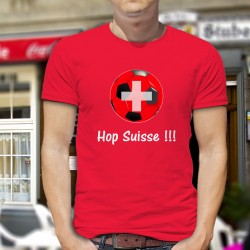 T-shirt football coton homme - Hop Suisse, 40-Rouge
