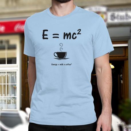 T-Shirt humoristique mode homme - La relativité du café, Blizzard Blue