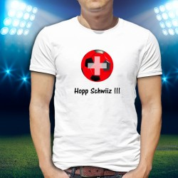 Herrenmode Fussball T-shirt - Hopp Schwiiz !!!, White
