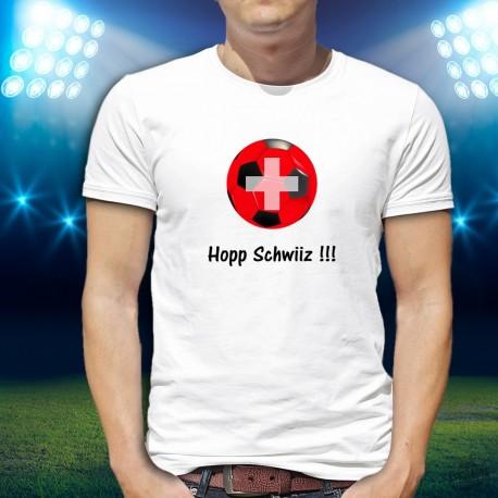 Herrenmode Fussball T-shirt - Hopp Schwiiz !!!, White