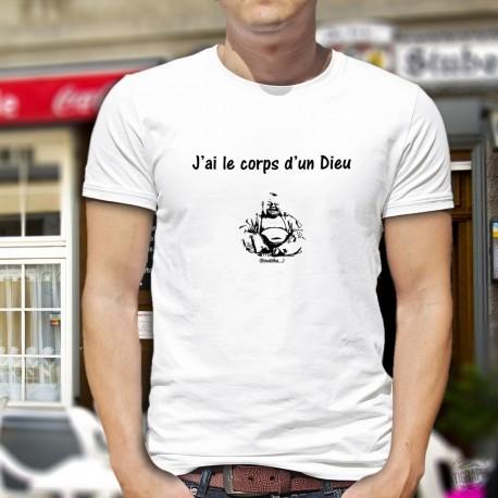 T-Shirt humoristique mode homme - J'ai le corps d'un Dieu - Bouddha, White