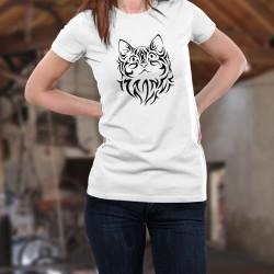T-shirt donna moda - Testa di gatto tribale