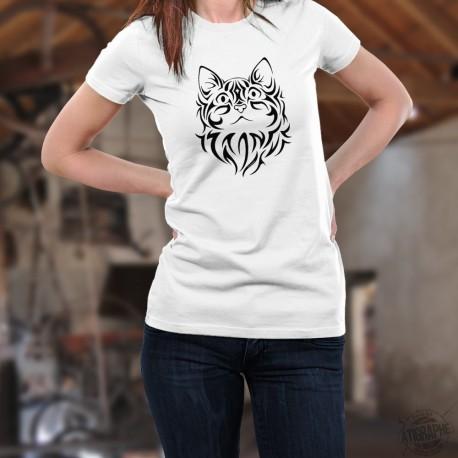 Tête de chat ❤ tatouage tribal ❤ T-Shirt mode dame,  portrait d'un chat dessiné dans le style d'un tatouage tribal