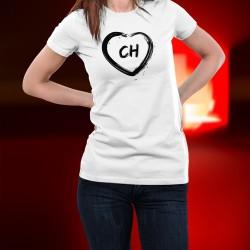 T-Shirt mode dame - Coeur CH - Confederatio Helvetica