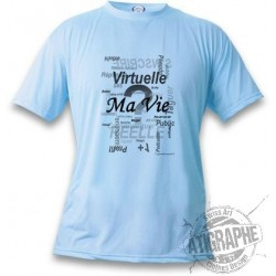 Donna o Uomo T-shirt - Ma vie - Real or virtual, Blizzard Blue