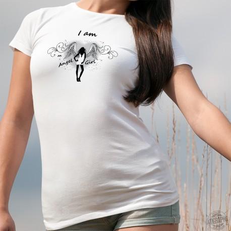 I am an Angel Girl ★ Je suis un Ange ★ T-Shirt dame, fille en robe sexy portant des ailes blanches sur fond d'un coeur en ombre