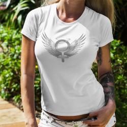 T-shirt mode dame - Angel woman (la femme ange), le symbole de la féminité entouré d'ailes d'ange