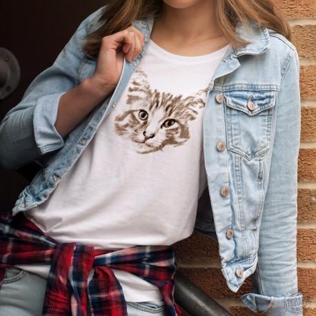 T-Shirt dame - portrait Chat Norvégien