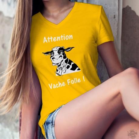 Attention Vache Folle ! ✿ T-Shirt coton dame tête de vache Holstein tirant la langue