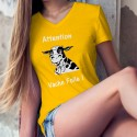 Women's cotton T-Shirt - Attention Vache Folle !