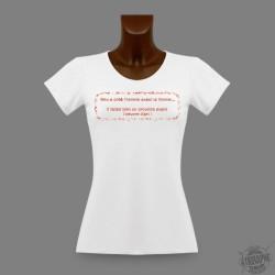 """T-Shirt Slim moulant """"Dieu Créa l'homme..."""", motif Rouge"""