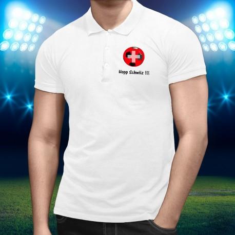 Men's Soccer Polo shirt - Hopp Schwiiz !!!, White