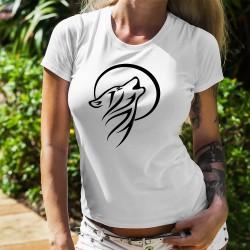 Donna moda T-Shirt - Lupo che ulula alla luna - Tatuaggio tribale
