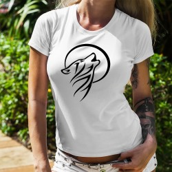 Women's fashion T-Shirt - Tribal Moon Wolf - Tribal Tatoo