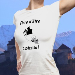 T-Shirt mode dame - Fière d'être Dzodzette - Frontières aux couleurs du canton de Fribourg en 3D et petite vache