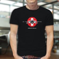 Avion de combat ✚ Swiss FA-18 Hornet ✚ T-shirt coton homme avec les armes des Forces Aériennes Suisse