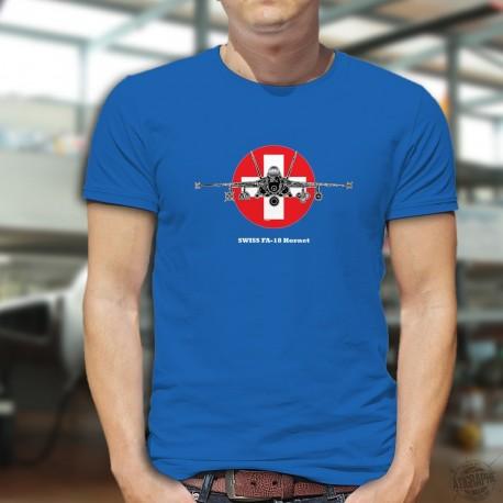 Kampfflugzeug ✚ Swiss FA-18 Hornet ✚ Herren Baumwolle T-Shirt
