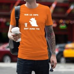 Que le Café soit avec Toi ★ Yoda ★ T-Shirt coton homme, inspiré de la Force