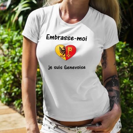 Embrasse-moi je suis Genevoise ❤ T-Shirt mode dame, coeur aux couleurs des armoiries de la république et canton de Genève