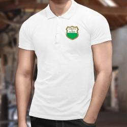 """Blason d'or Vaudois ★ Polo shirt homme, drapeau du canton de Vaud """"Liberté et Patrie"""""""