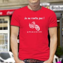 Je ne ronfle pas ! Je rêve que je suis à moto ★ T-Shirt coton homme avec le dessin d'une moto chopper, pour tous les Bikers