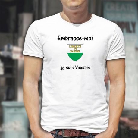 Embrasse-moi, je suis Vaudois ★ T-Shirt humoristique homme - écusson du canton de Vaud