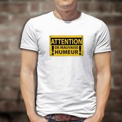 ATTENTION, de mauvaise humeur ★ panneau de danger rectangulaire jaune ★ T-shirt humoristique homme