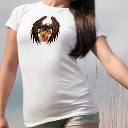 Aigle Genevois ★ T-Shirt mode dame, aigle tenant le blason du canton de Genève entre ses serres