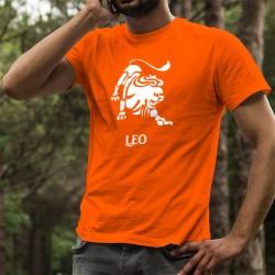 Signe astrologique du Lion (Leo) ♌ T-shirt coton mode homme, pour les personnes nées entre le 23 juillet et le 23 août