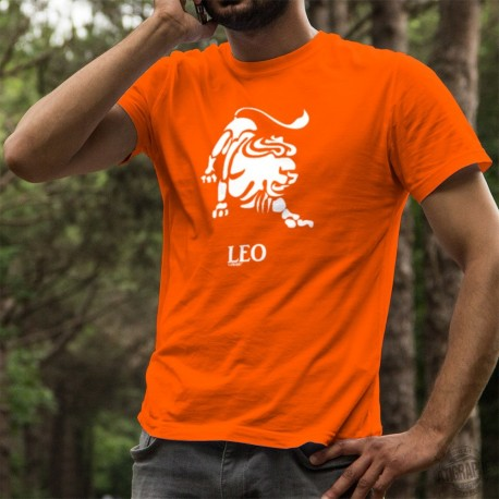 Men's Fashion cotton T-Shirt - astrological sign Leo ♌ for people born between July 23rd and August 23rd in tropical astrology