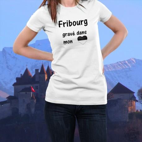 Frauenmode T-shirt - Fribourg, gravé dans mon Coeur