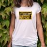 T-shirt humoristique mode dame - ATTENTION, de mauvaise humeur
