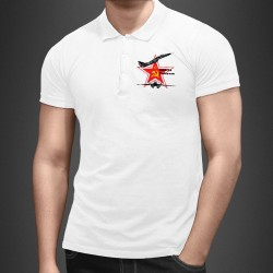 Men's fashion Polo Shirt - Fighter Aircraft - MiG-29 Fulcrum - red star, hammer and sickle, symbols of the USSR