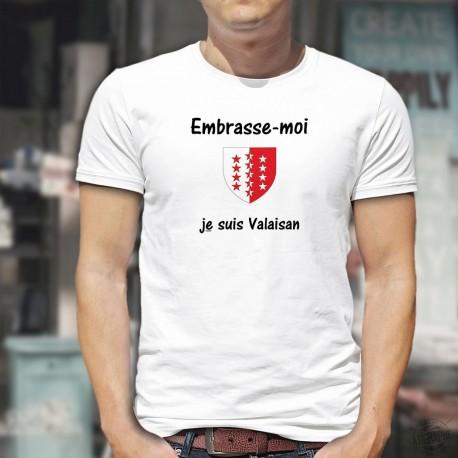 T-Shirt - Embrasse-moi, je suis Valaisan - écusson Valaisan - pour homme