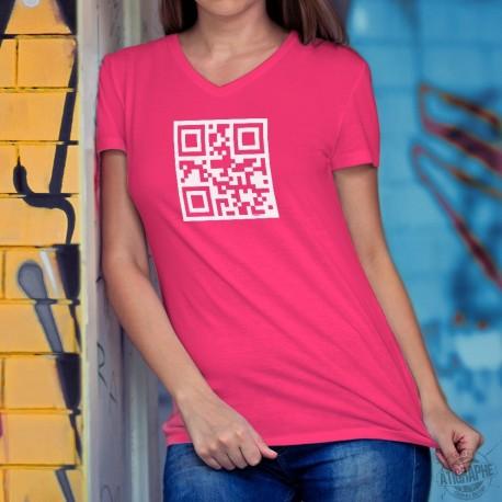T-shirt mode coton Dame - Coeur libre - QR-code