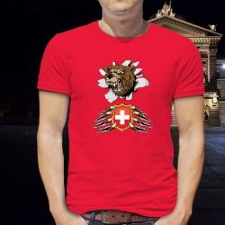 Herren Mode Baumwolle T-Shirt - Bär und Schweizer Wappen