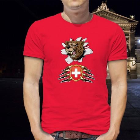 T-shirt coton mode homme - Ours et blason suisse