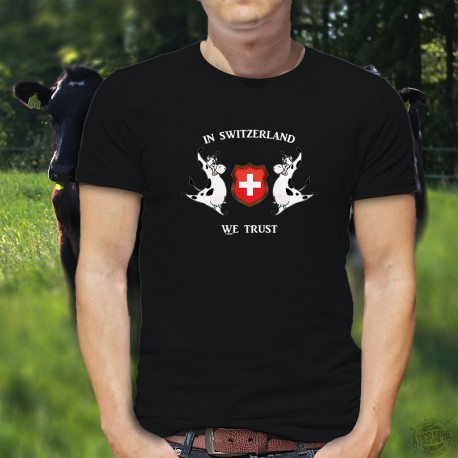 In Switzerland we Trust ✚ Men's cotton T-shirt with two Holstein cows surrounding the Swiss crest