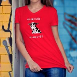Je suis folle, et alors ??? ✿ vache folle ✿ T-Shirt coton dame tête de vache Holstein